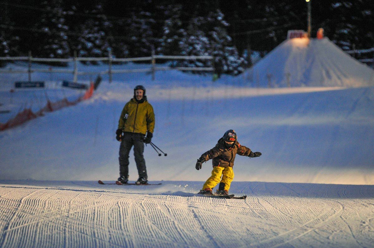night skiing on the mighty moose – fernie alpine resort